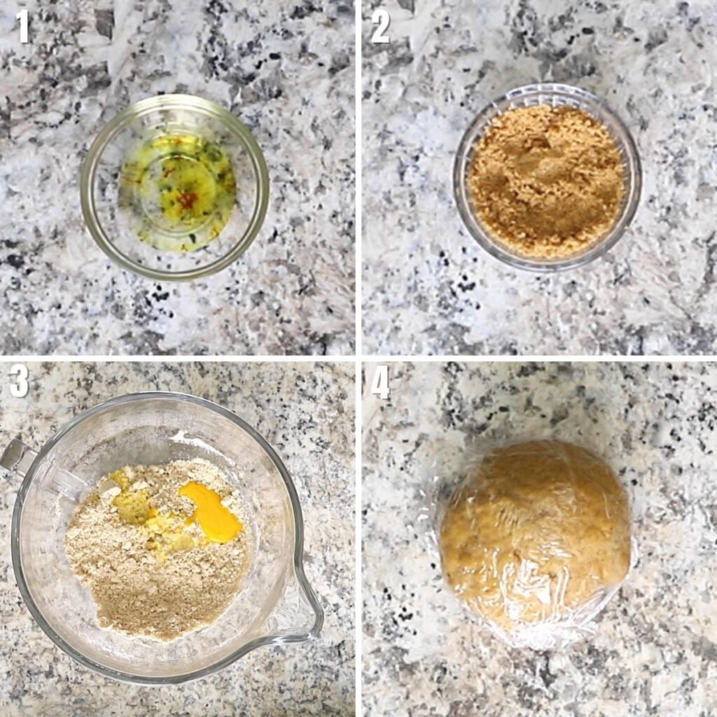A collage of four images showing how to make chebakia dough.