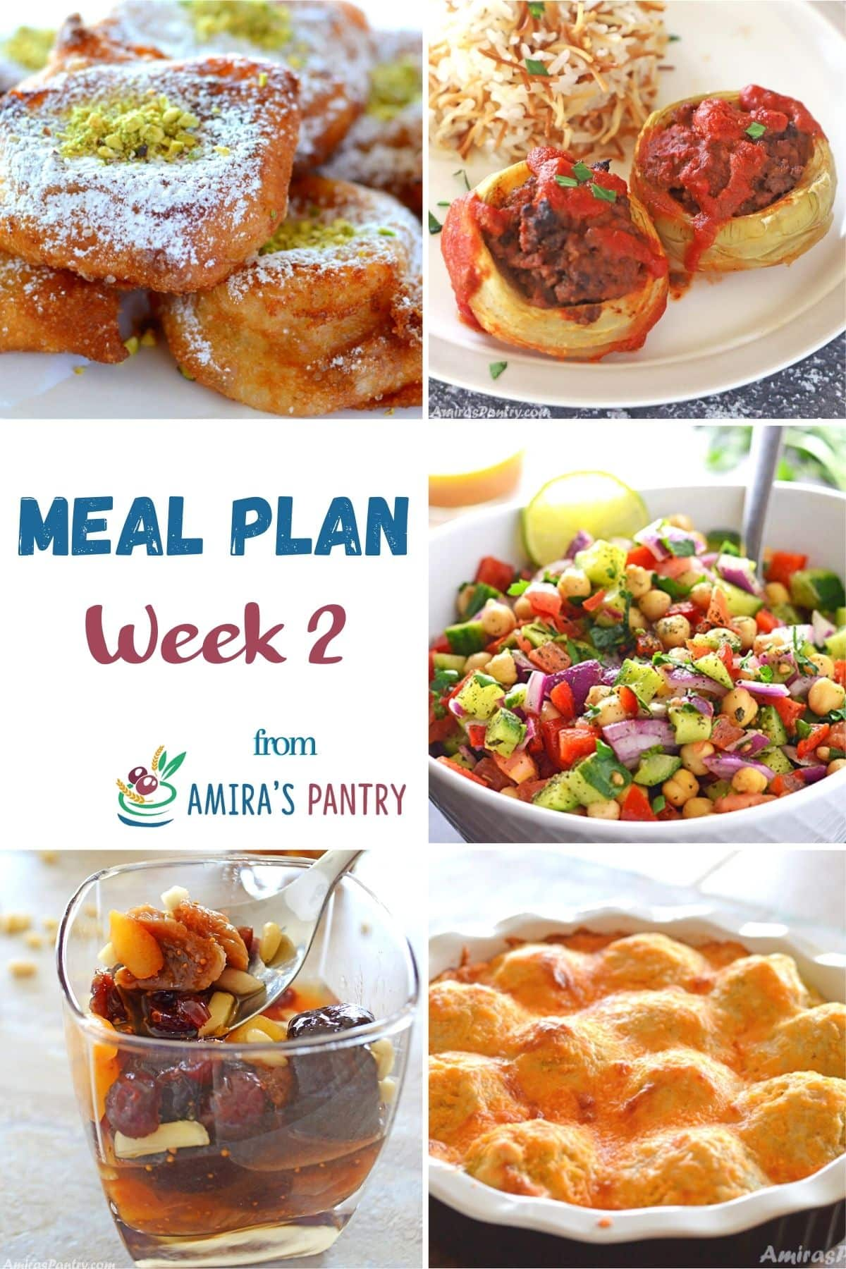 A collage of this week's meal plan dishes with focus on Ramadan recipes.