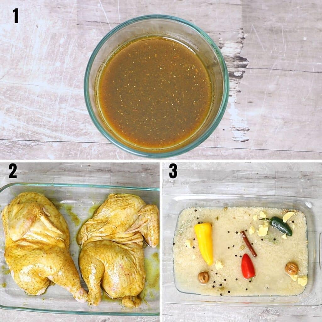 A collage of three images showing how to make the chicken marinade for the mandi.