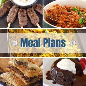 A collage of different recipe images representing a meal plan.