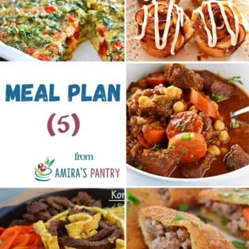 A collage of this week's meal plan dishes with focus on summer recipes.