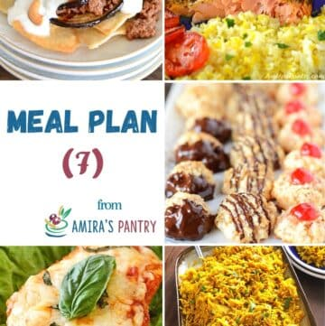 A collage of images showing dishes from this meal plan.