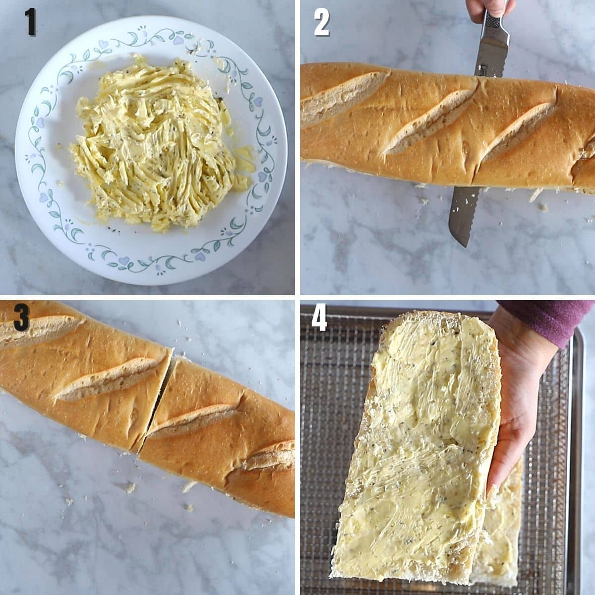 A collage of four images showing how to make air fryer garlic bread.