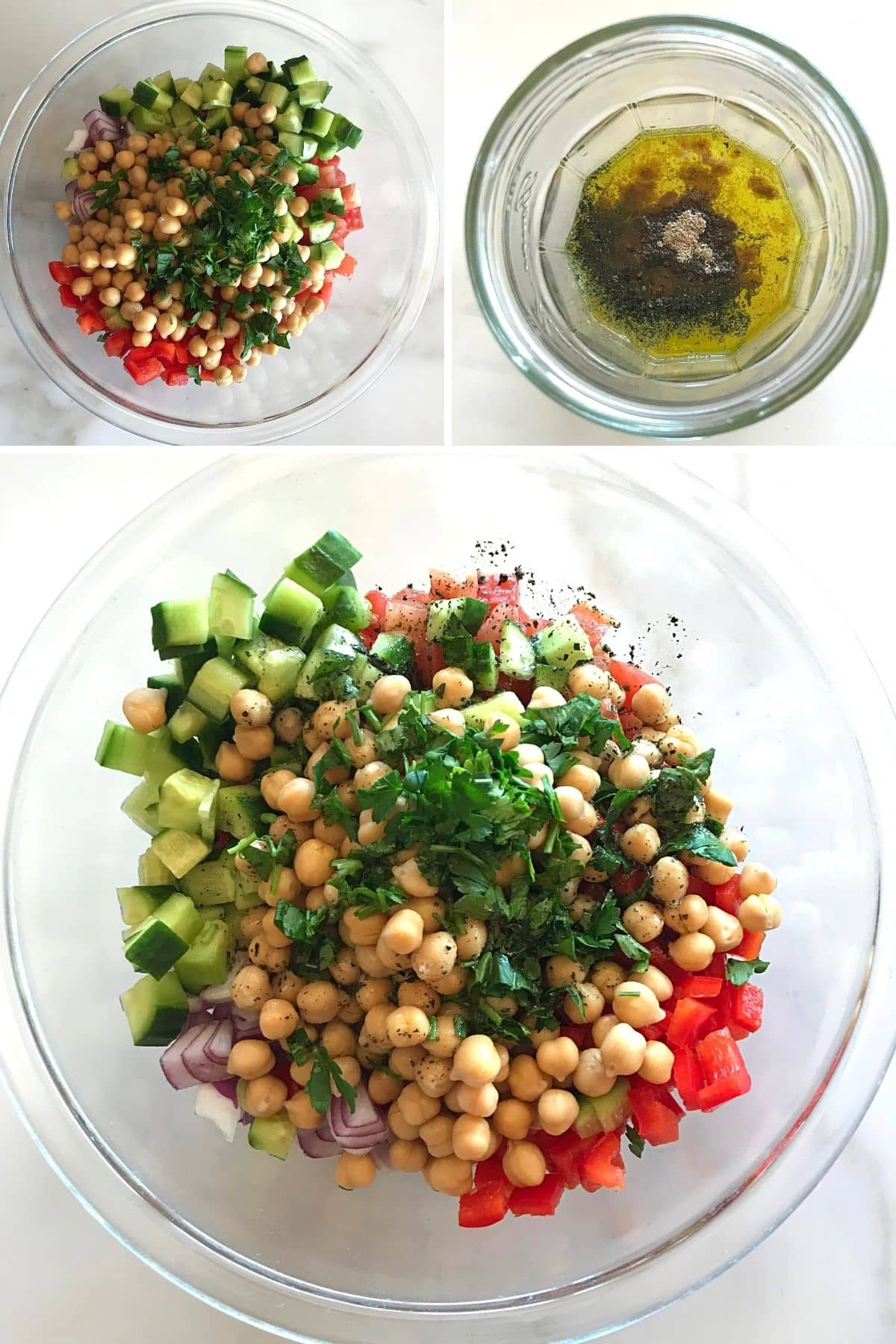 A collage of step bu step images showing how to make this easy chickpeas salad.
