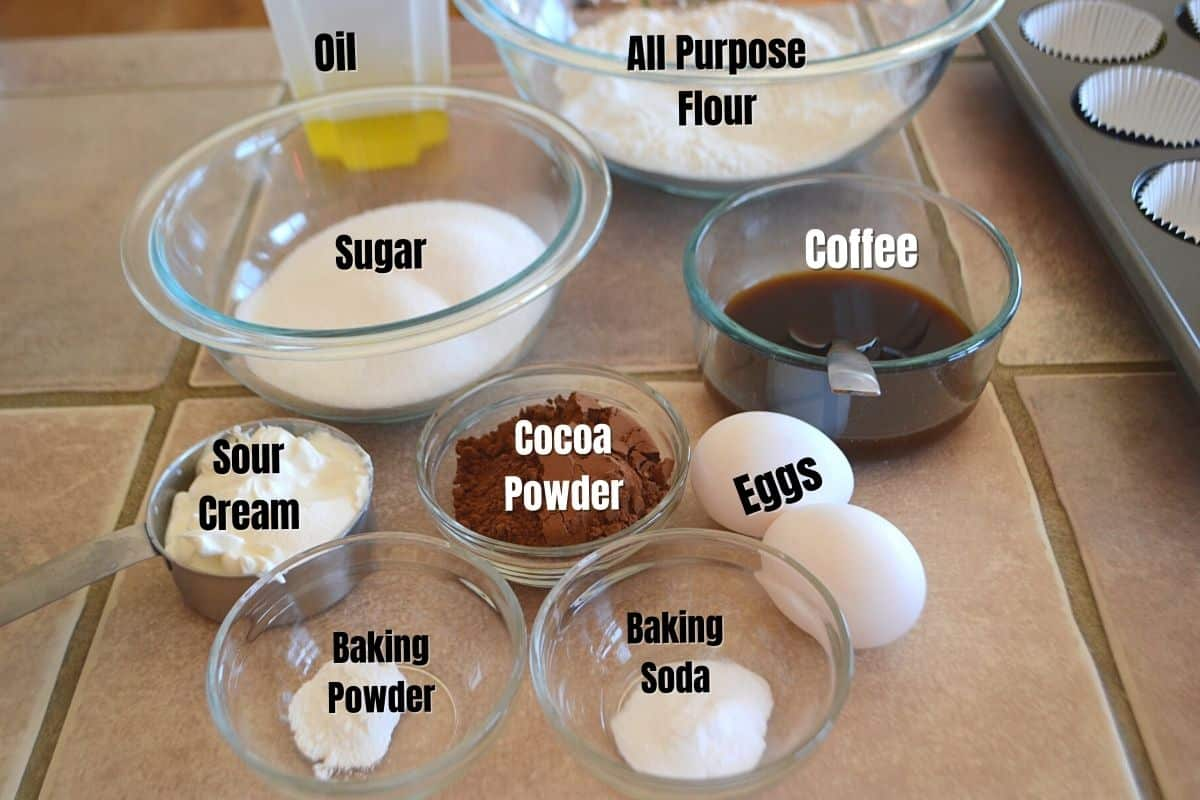 Ingredients for coffee cupcakes placed on a acounter.