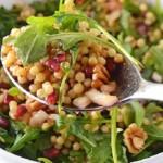 A pinterest image of pearl couscous salad.