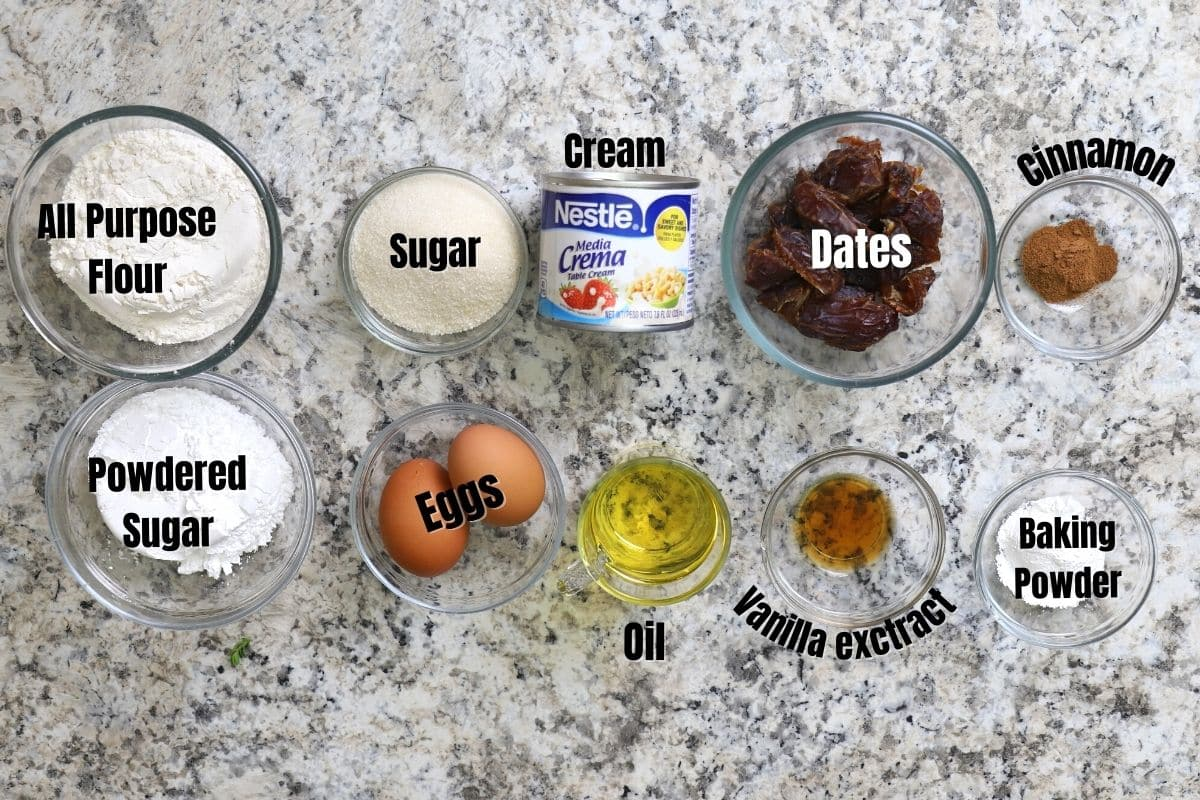 Ingredients of date cake on a countertop.