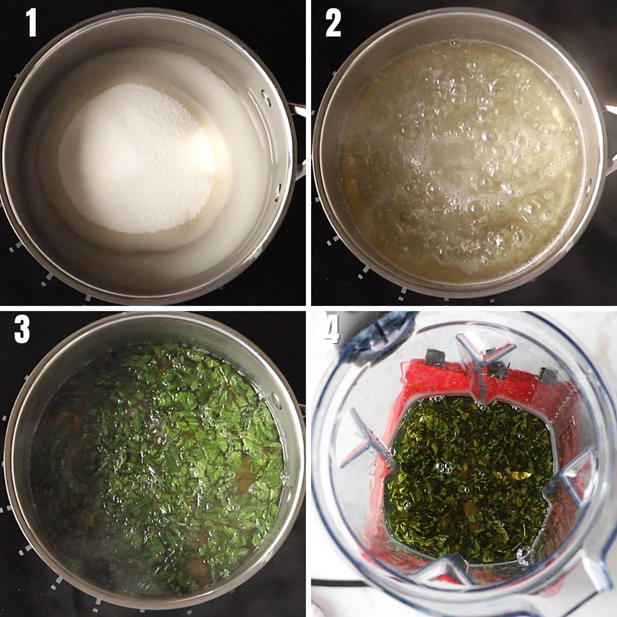 A collage of four images showing how to make mint infused simple syrup/