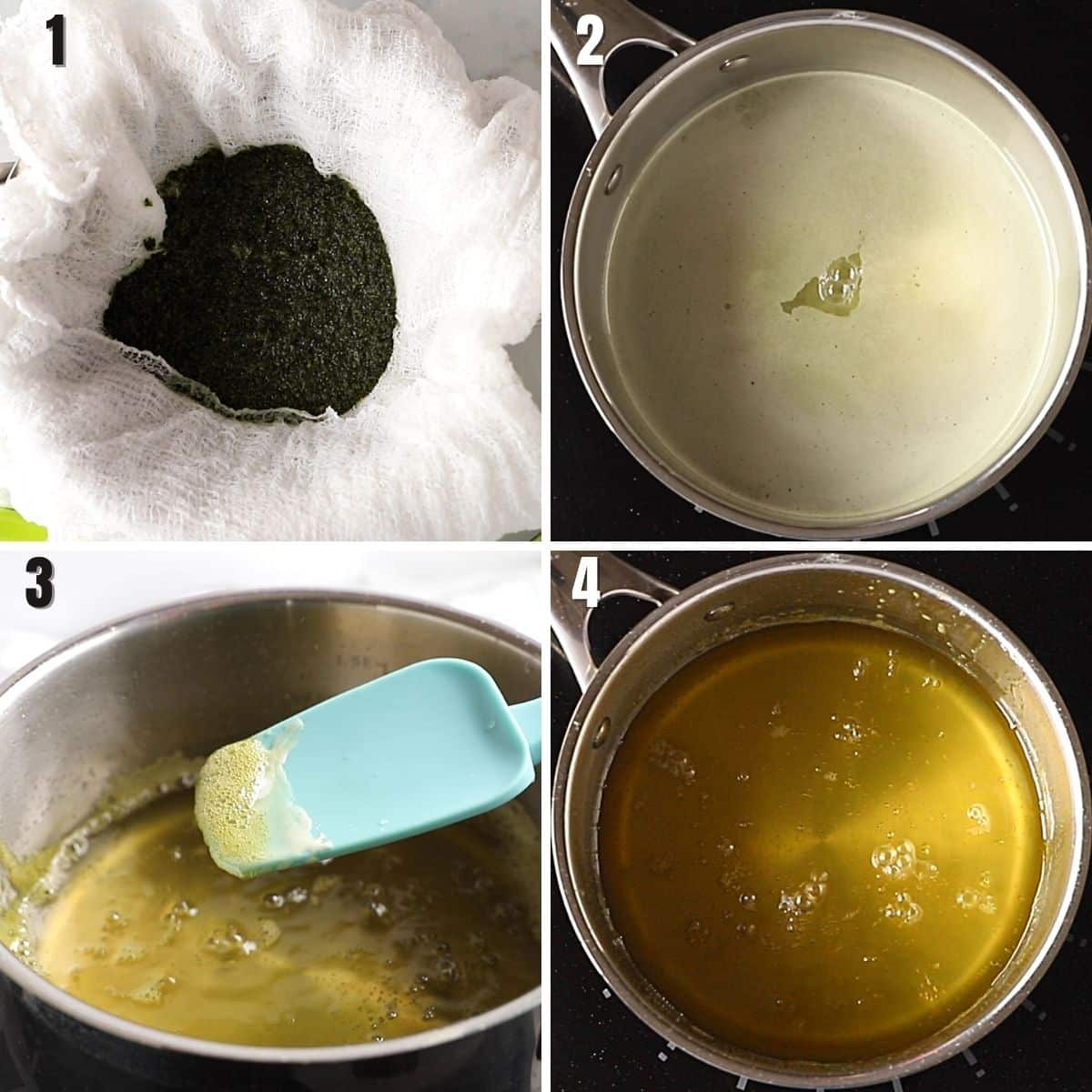 A collage of 4 images showing how to strain and clarify the liquids to make concentrated mint simple syrup.