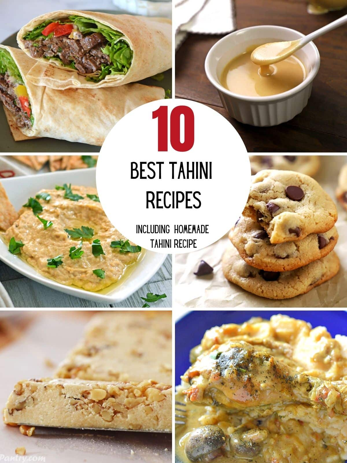 A collage of 6 images showing best recipes for tahini.
