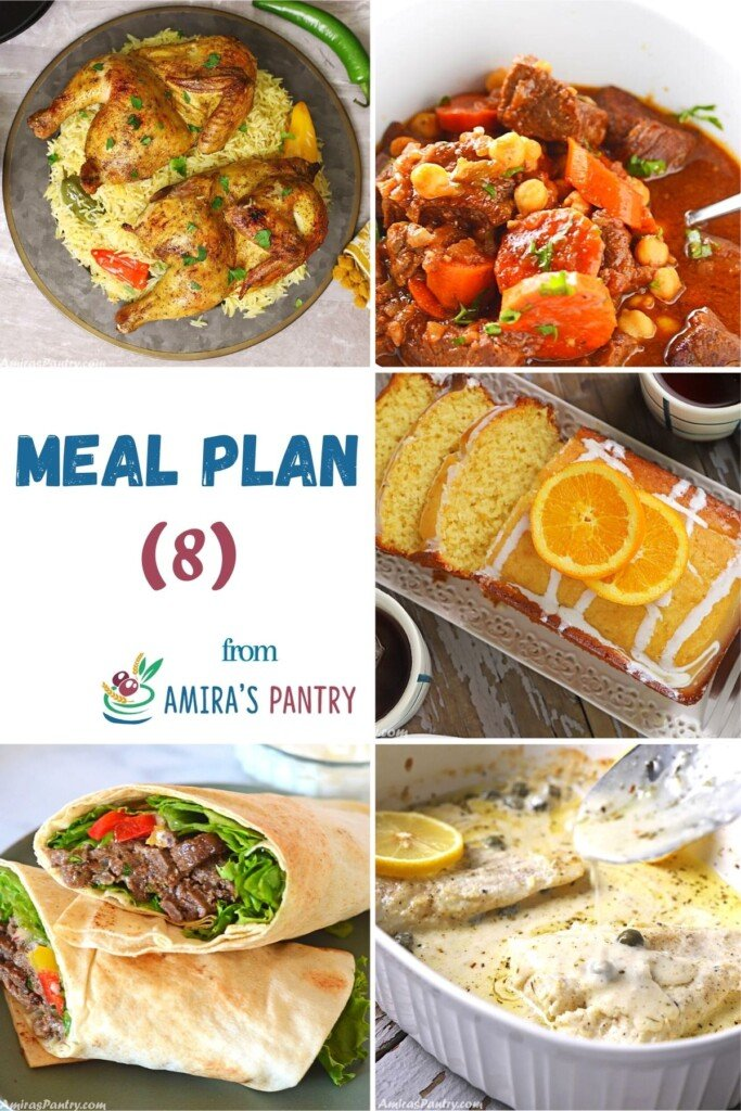 A collage of images from this week's meal plan.