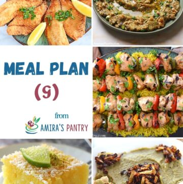 A collage of 5 images for dishes in this week's menu plan.