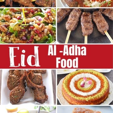 A collage of 10 images of dishes to celebrate eid al adha.