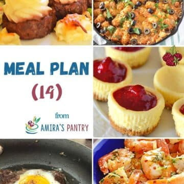 A collage of recipes from this week's meal plan focusing on family food.