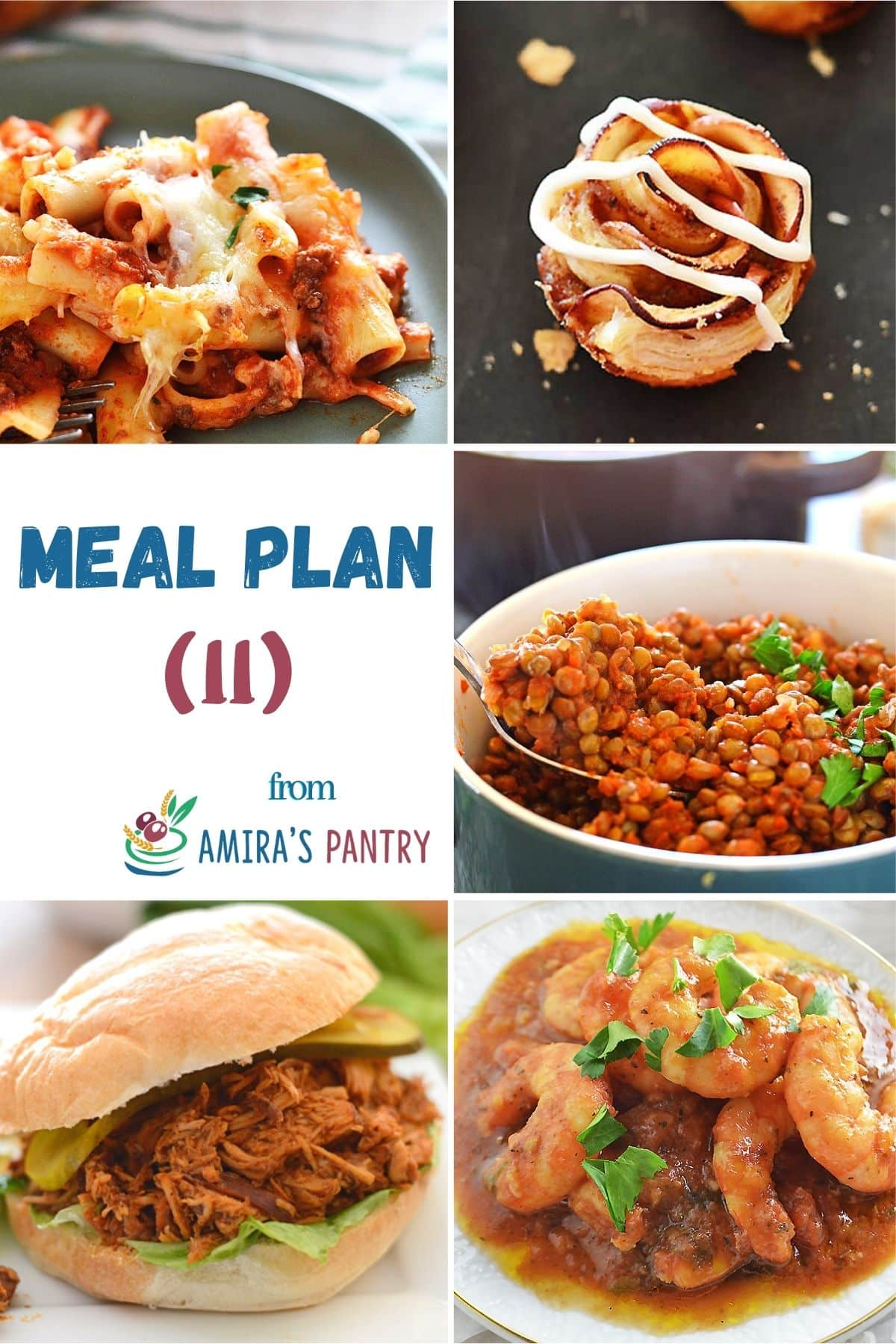 A collages of dishes from this week's menu plan.