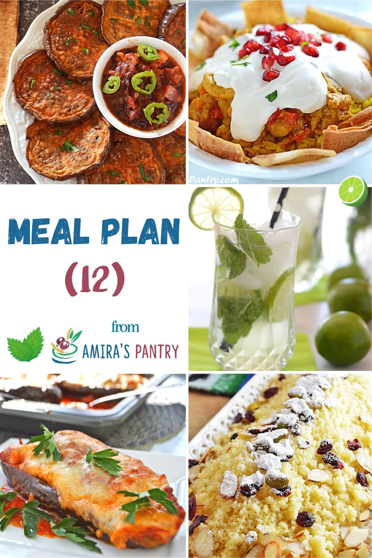 A collage of recipes from meal plan 12.