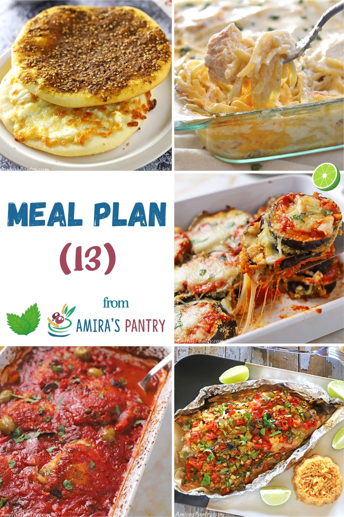 A collage of recipes from this week's meal plan focusing on comfort food.