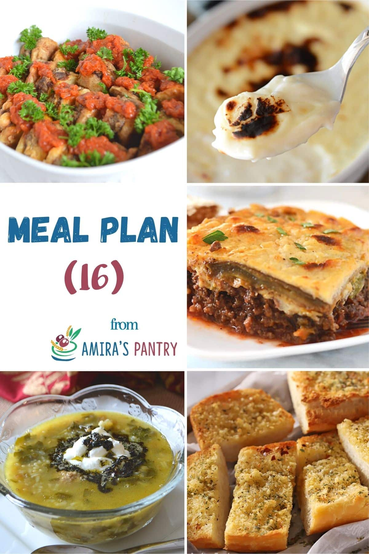 A collage of recipes from this week's meal plan focusing on flavorful recipes.