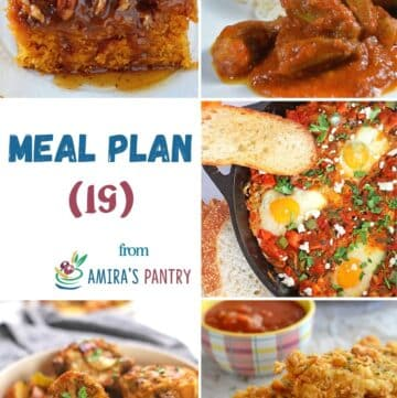 A collage of images from this week's meal plan recipe.