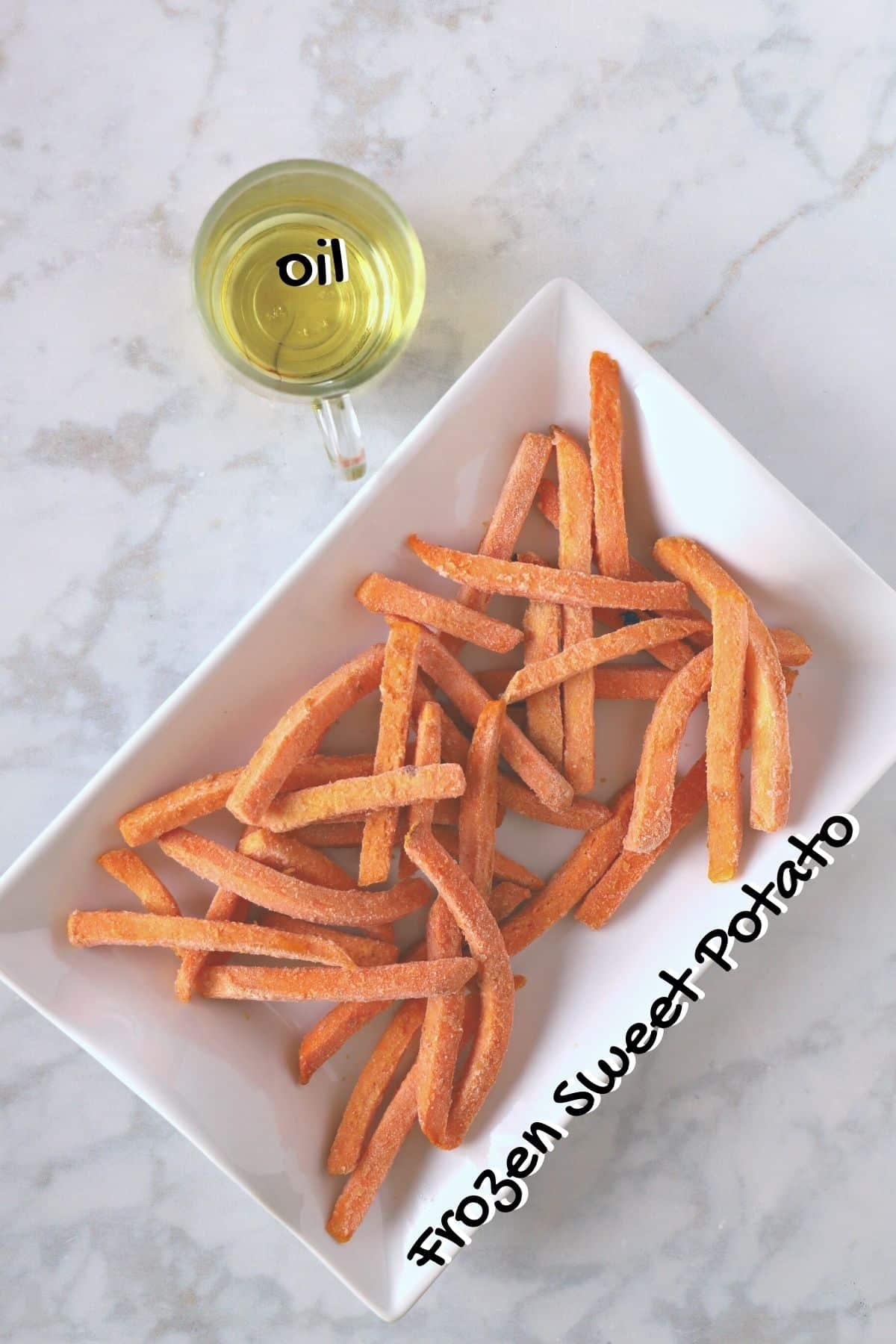 air fried frozen sweet potato ingredients on a white counter top.