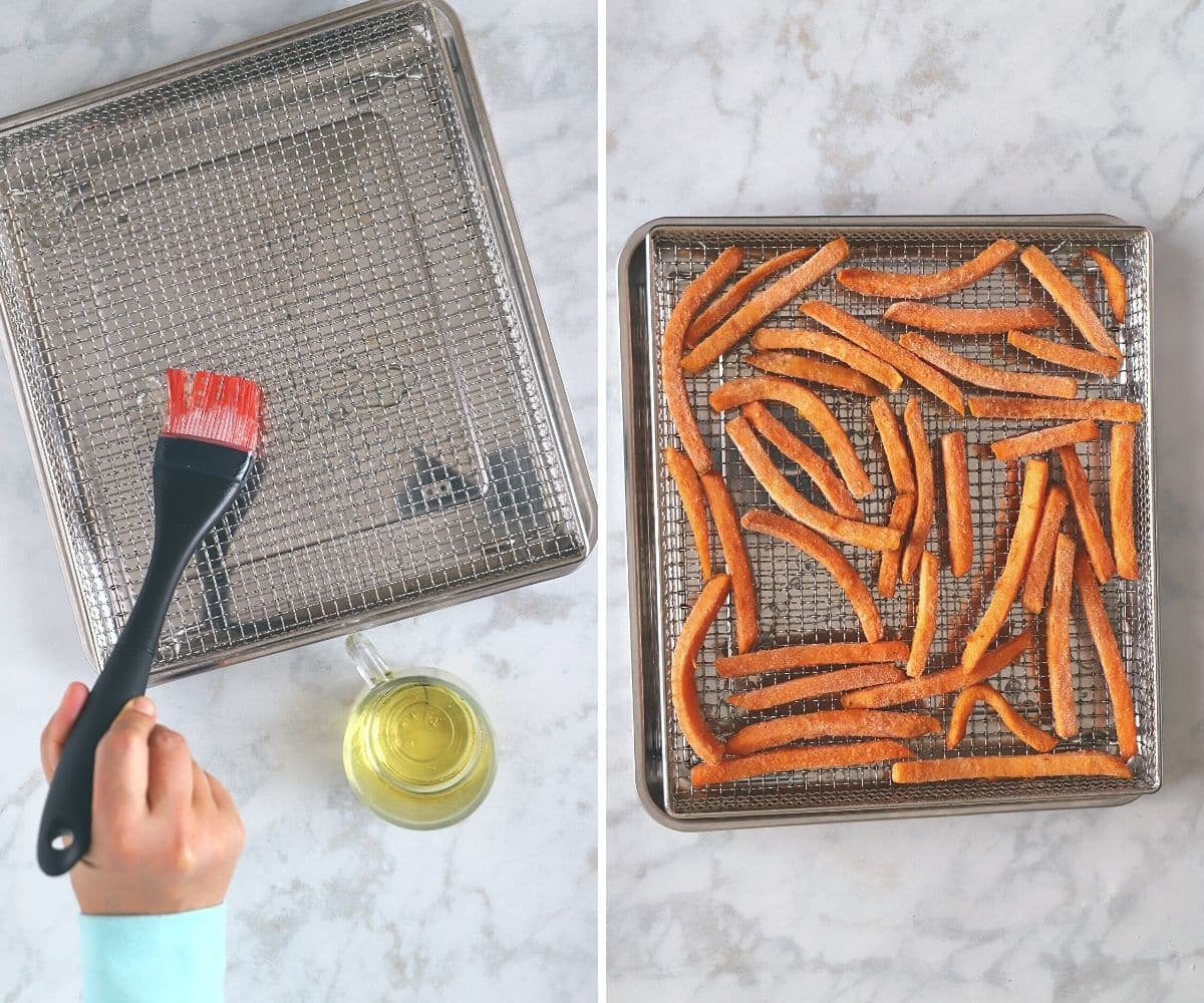 A collage of two images showing how to air fry frozen sweet potato.