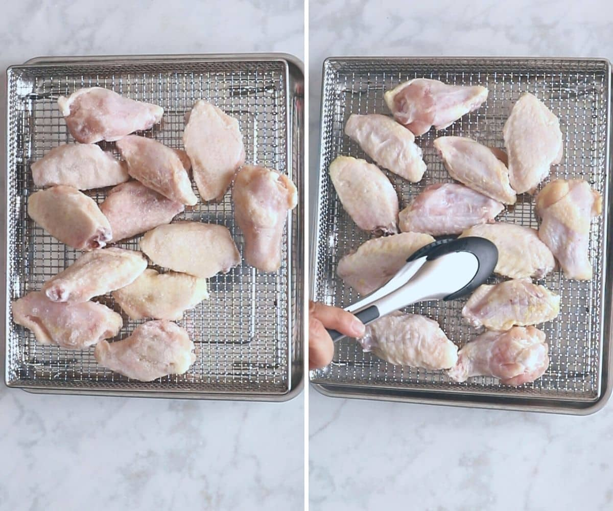 A collage of two images showing how to defrost frozen chicken wings in the air fryer.