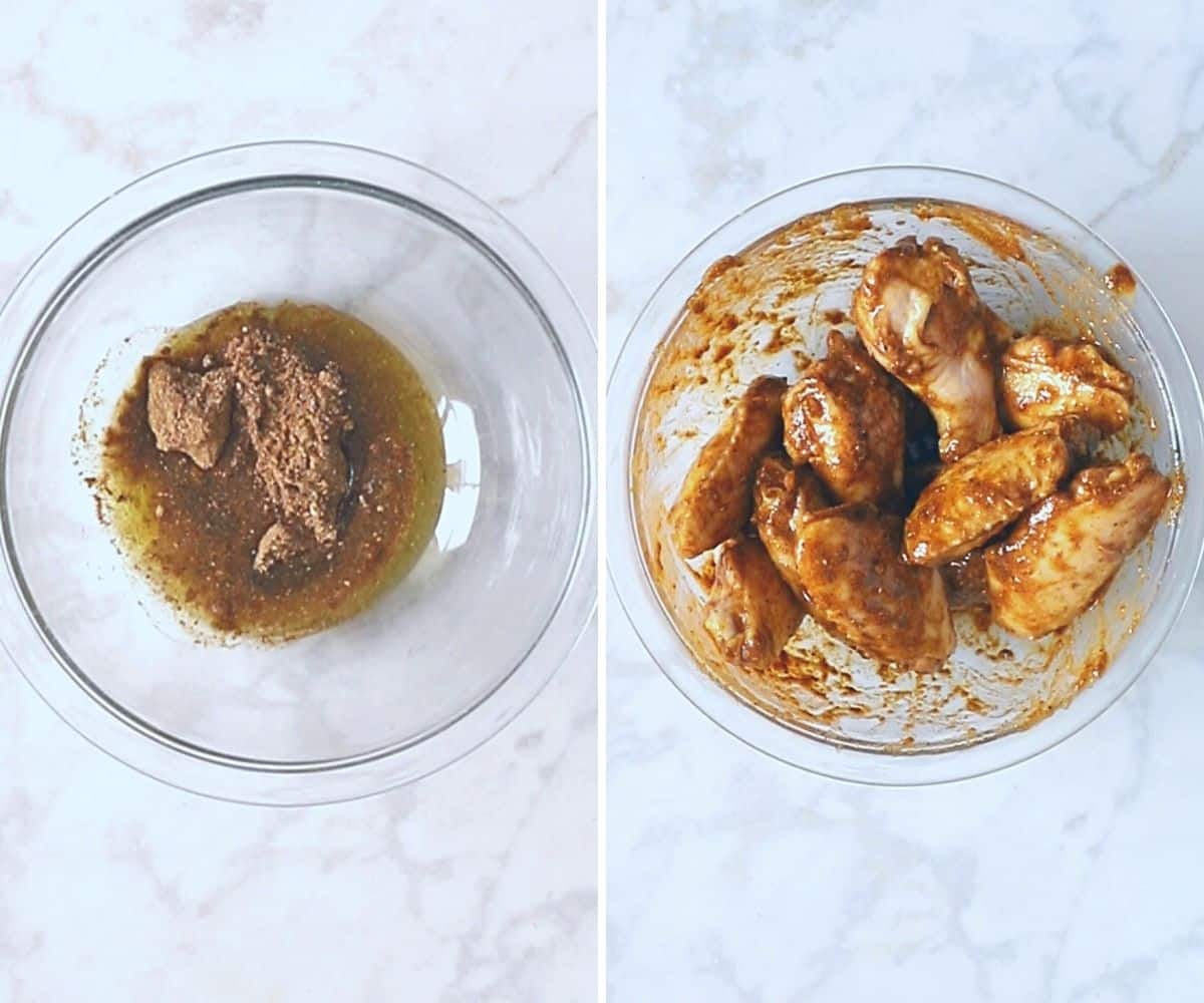 A collage of two images showing how to dress up frozen chicken wings.