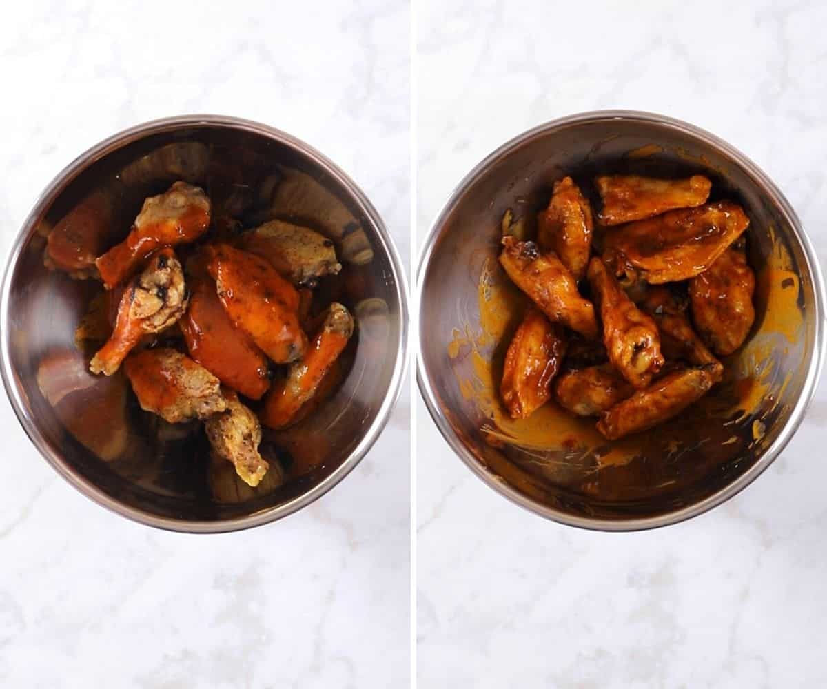 A collage of two images showing how to make air fryer buffalo wings.