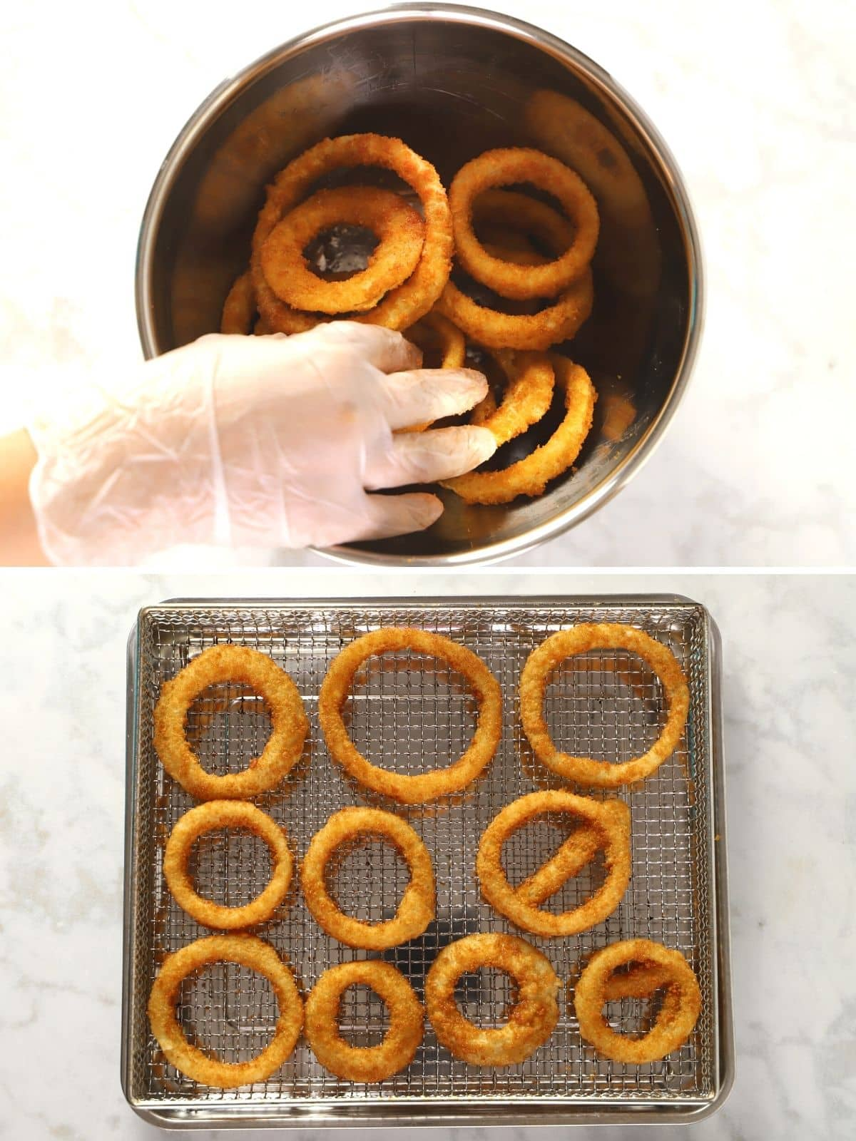 A collage of two images showing how to prepare frozen wings in the air fryer.