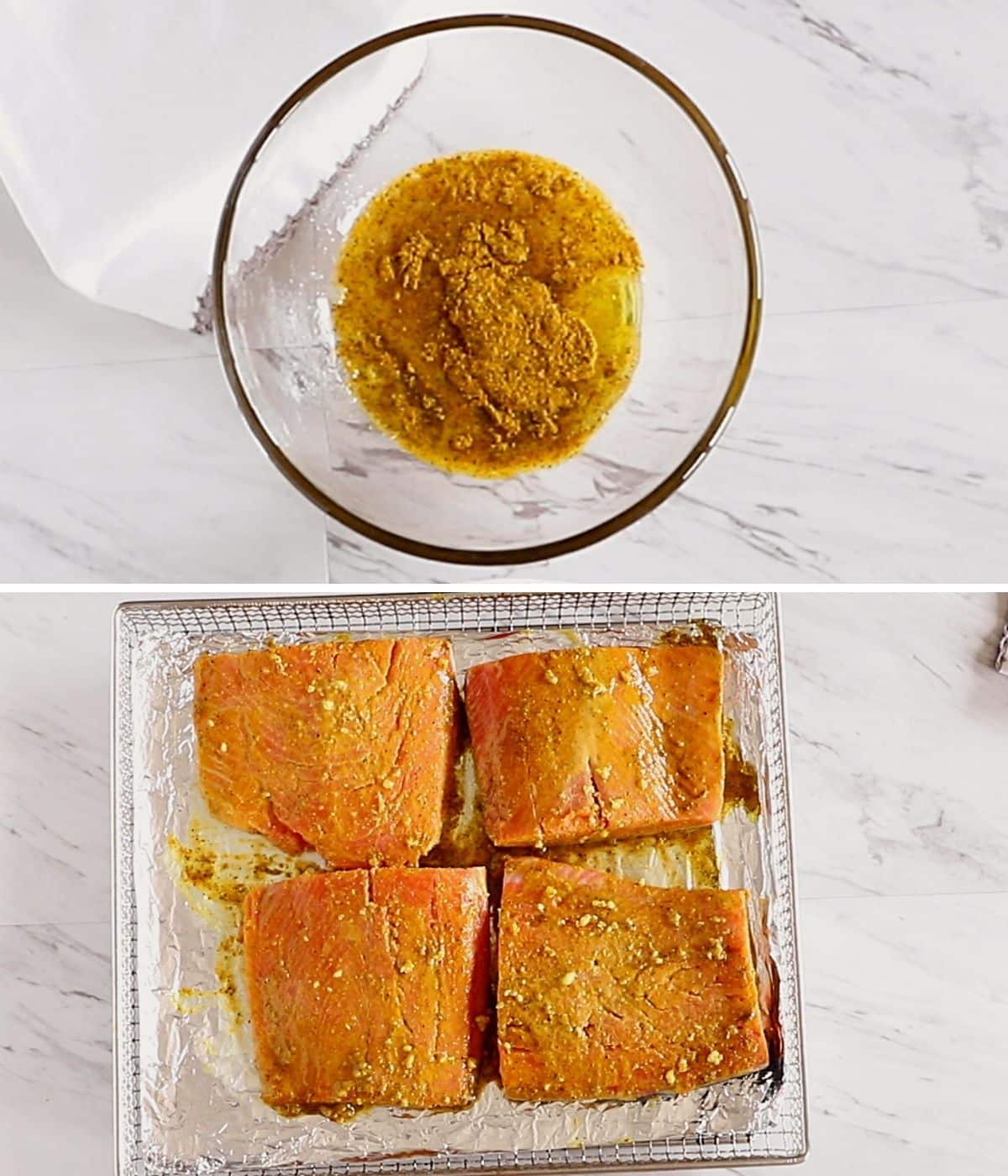 A collage of two images showing how to season air fryer salmon.