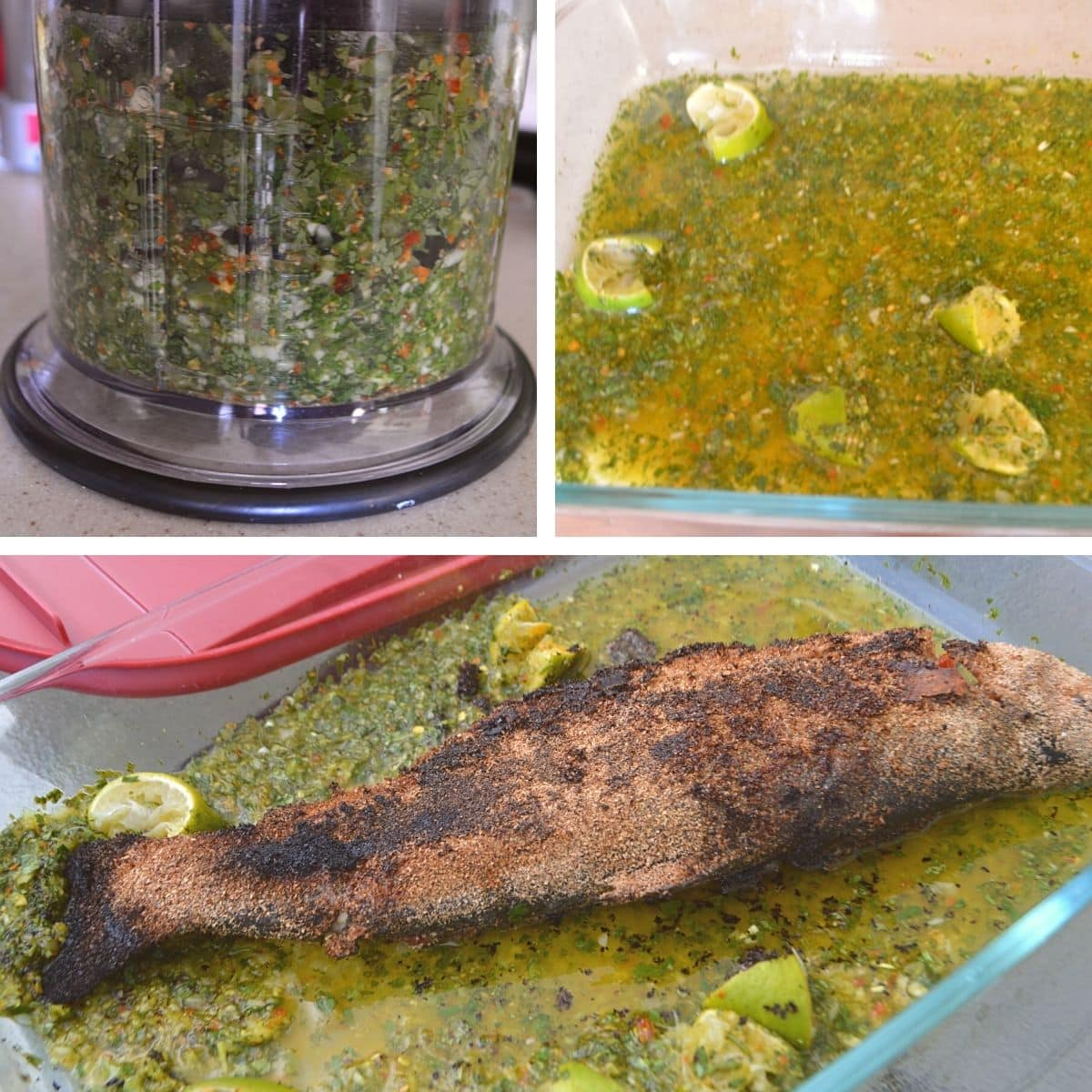 A collage of three images showing how to make the marinade sauce for grilled trout.