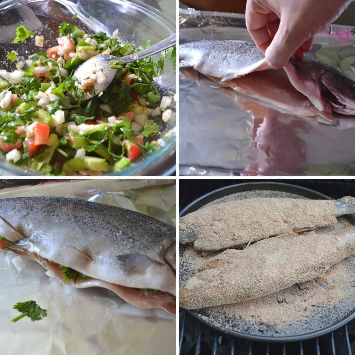 A collage of 4 images showing how to make grilled trout.