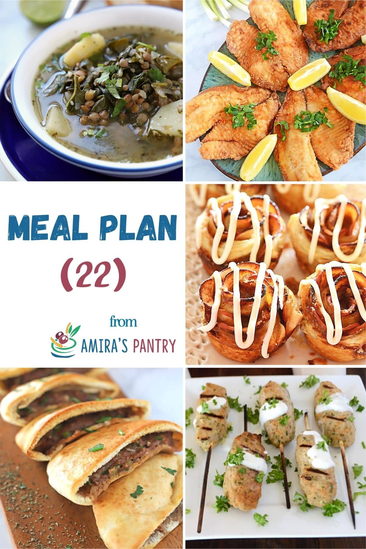 A collage of images for recipes in this weekly meal plan.