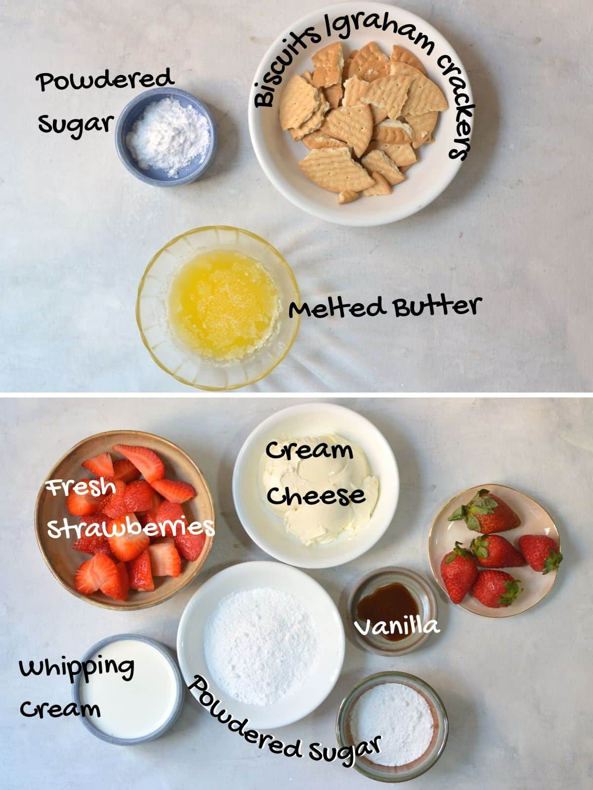 No bake strawberry cheesecake ingredients on a countertop.