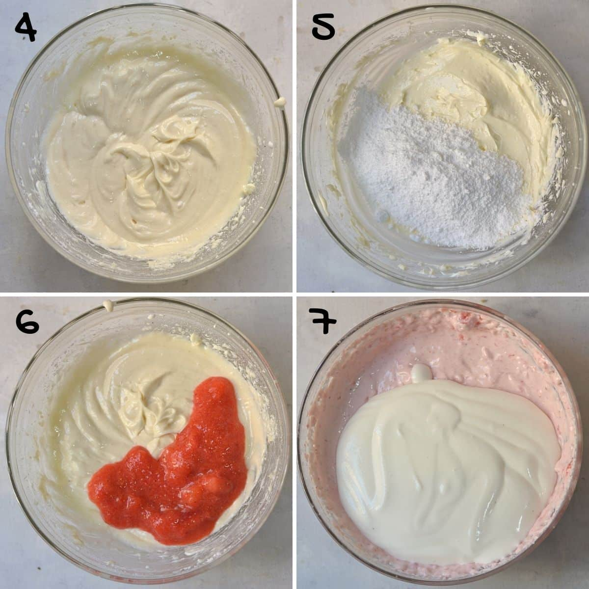 A collage of 4 images showing how to make the strawberry cheesecake layer.