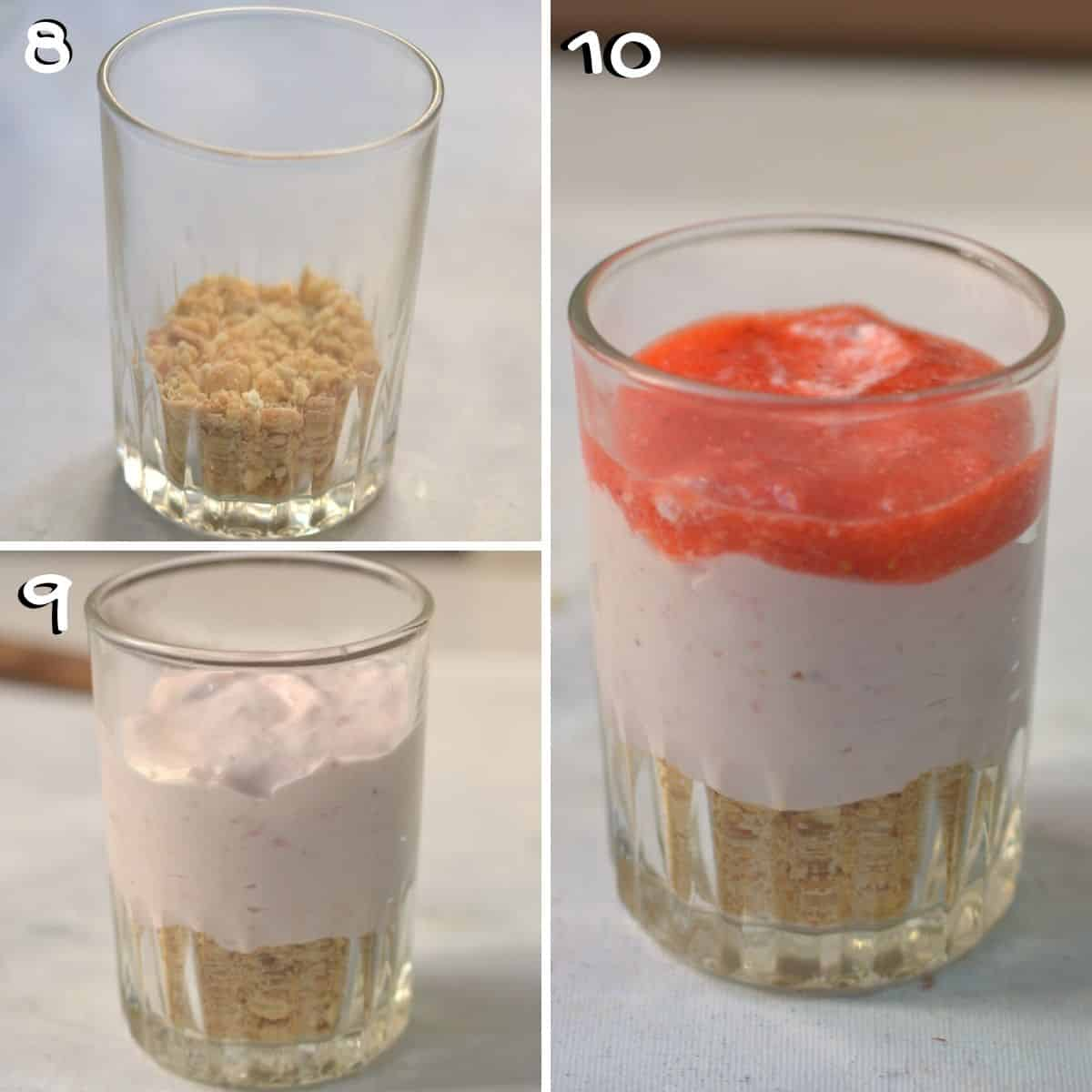 A collage of 3 images showing how to assemble no bake strawberry cheesecake.