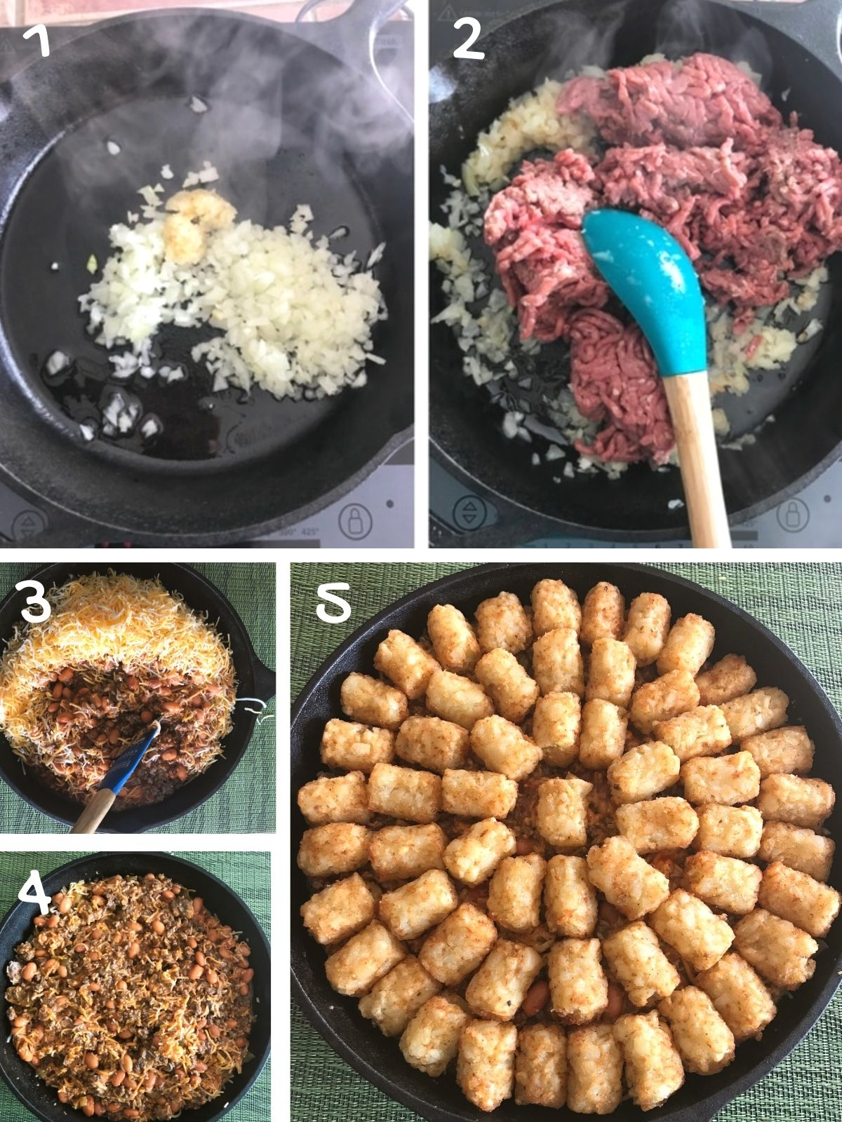 A collage of 5 images showing how to make tater tot casserole recipe.