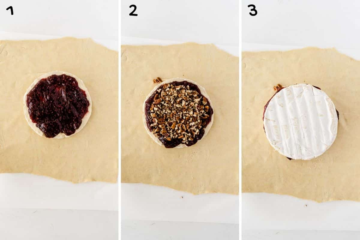 A collage of three photos showing how to make baked brie.