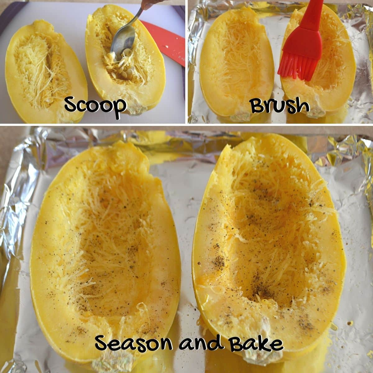 A collage of three images showing how to bake spaghetti squash.