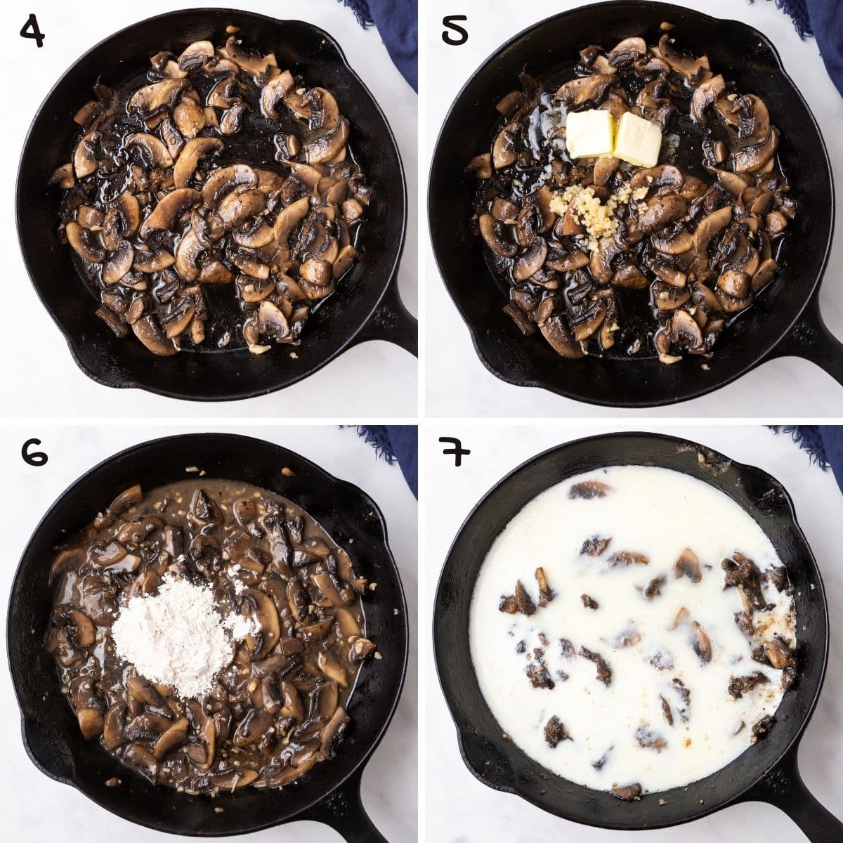 A collage of four images showing how to make mushroom sauce for chicken.