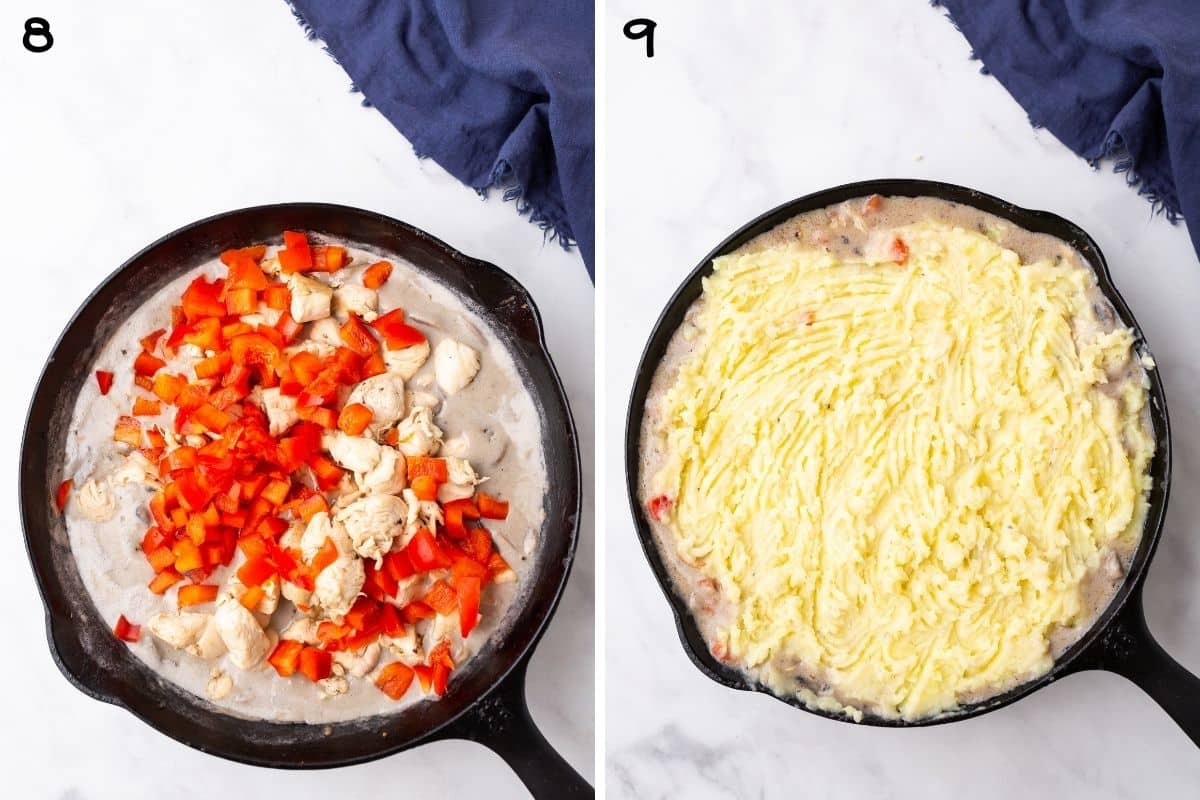 A collage of two images showing how to assemble chicken and mashed potato dinner.