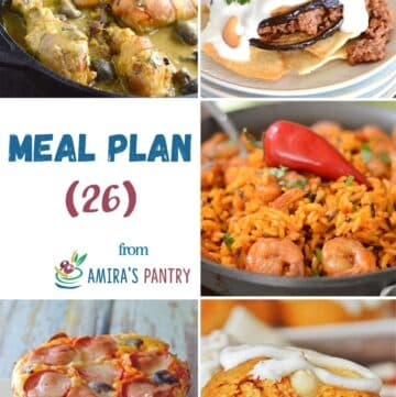 A collage of 5 images from this week's meal plan.